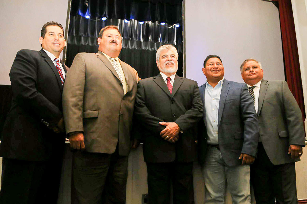 """Featured, from left: Agustín """"Gus"""" García, Jr., Executive Director, Edinburg Economic Development Corporation; Mark Iglesias, Vice President, EEDC Board of Directors; Mayor Richard H. García, who also serves as President of the EEDC Board of Directors; Harvey Rodríguez, Treasurer, EEDC Board of Directors; and Rolando """"Ronnie"""" Guerra, Sr., Secretary, EEDC Board of Directors, following the State of the City Address by the mayor on Wednesday, May 27 at the Edinburg City Auditorium. Richard W. Ruppert, who rounds out the five-member EEDC Board of Directors, was appointed by the Edinburg City Council in early June and thus not included in this portrait. Photograph By DIEGO REYNA"""