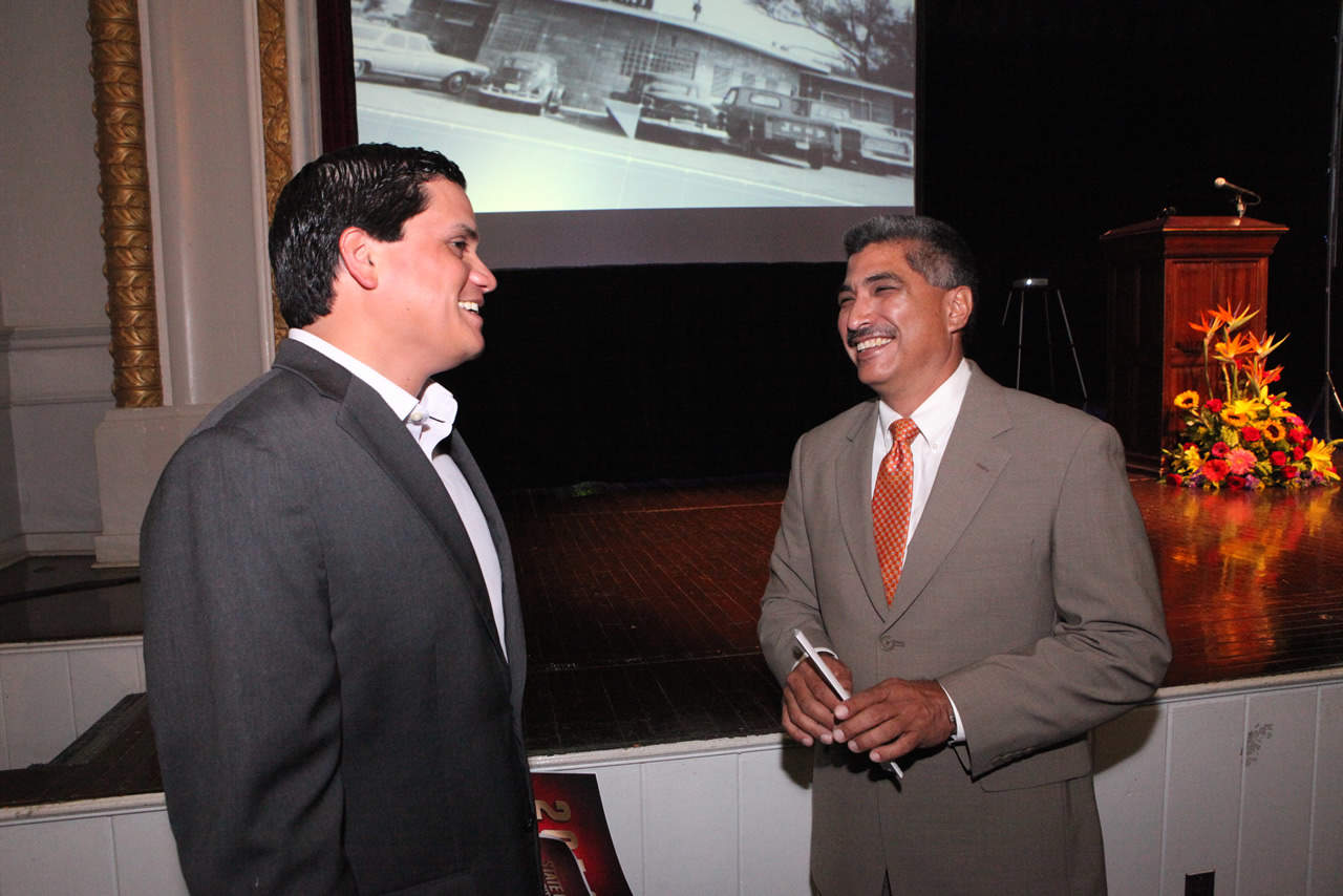 Edinburg City Councilmember J.R. Betancourt and fellow Councilmember David Torrres celebrate the ongoing success