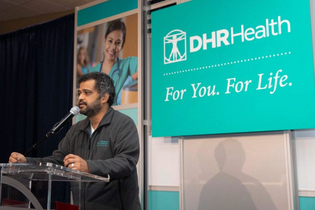 Featured: Manish Singh, MD, FSCS, Chief Executive Officer, DHR Health System, and Member, Board of Directors, DHR Health Institute for Research and Development, during the 2020 Employee Milestone Celebration held in the Edinburg Conference Center at Renaissance on Friday, February 7, 2020.