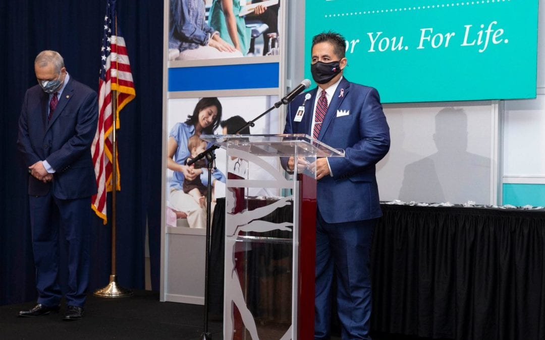 Mario Lizcano, Administrator of Corporate Affairs, DHR Health, and DHR Health staff honored with separate resolutions by House of Representatives, announces Rep. Canales