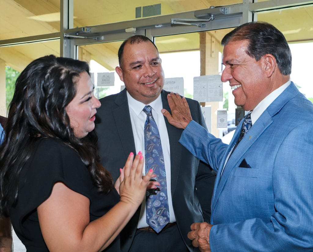 FEATURED, FROM LEFT: San Juan First Lady Heather Garza, San Juan Mayor Mario Garza; and Sen.Eddie Lucio, Jr. D-Brownsville, on Thursday, July 1, 2021, during the swearing-in ceremony of the mayor, held at the Amigos de Valle San Juan Center.  Photograph Courtesy CITY OF SAN JUAN INFORMATION TECHNOLOGY DEPARTMENT